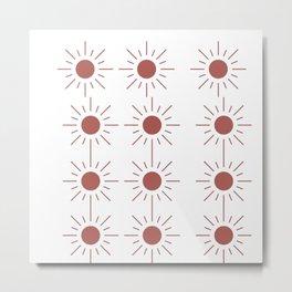 Light Brown Sun Pattern in Transparent Metal Print