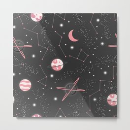 Universe with planets and stars seamless pattern, cosmos starry night sky 007 Metal Print
