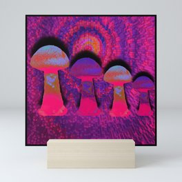 Neon Shrooms Mini Art Print