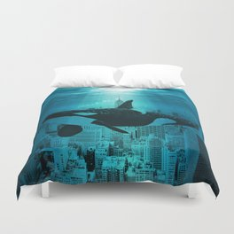 Orcas in Manhattan Duvet Cover