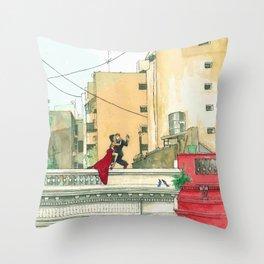 Calle Salguero, a rooftop tanda Throw Pillow