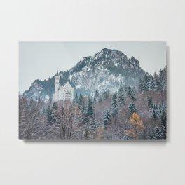 Neuschwanstein Castle with Bavarian Alps in background Metal Print