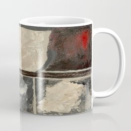 Textured Marble Popular Painterly Abstract Pattern - Black White Gray Red Coffee Mug