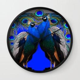 BLUE PEACOCKS BLUE MODERN GREY ART Wall Clock