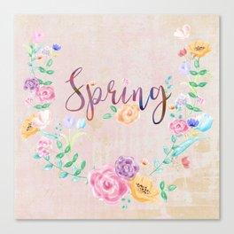 Watercolor Spring Floral Wreath Canvas Print