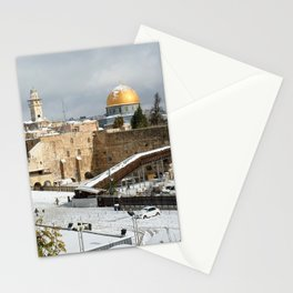 Old City Jerusalem covered in snow Stationery Cards