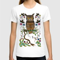 andreas preis T-shirts featuring Vibrant Jungle Owl and Snake by famenxt