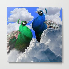 GREEN PEACOCK & BLUE PEACOCK CLOUDS MODERN ART Metal Print