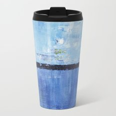 Shiver Abstract Art Blue Modern Water Painting  Metal Travel Mug