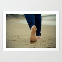 Walking In Sand By the Sea Side Art Print