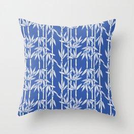 Bamboo Rainfall in China Blue/Seashell White Throw Pillow