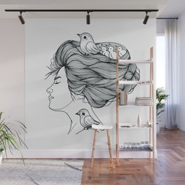 Girl with Bird's Nest Ink Wall Mural