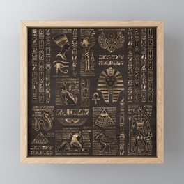 Egyptian hieroglyphs and deities - gold on wood Framed Mini Art Print