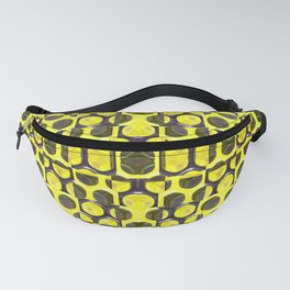 Gold and Black Grid Pattern Fanny Pack