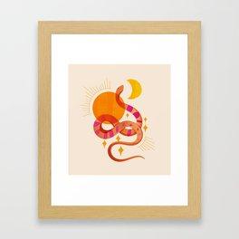 Abstraction_SUN_MOON_SNAKE_Minimalism_001 Framed Art Print