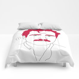 Blue-tooth pink mustache guy Comforters