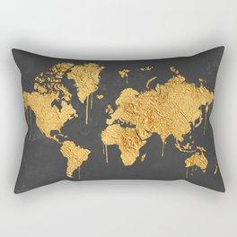 Gold World Map Rectangular Pillow