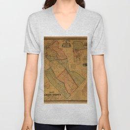 Map Of Camden 1857 Unisex V-Neck