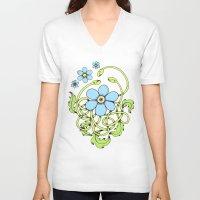 daisy V-neck T-shirts featuring Daisy by Solomiya Shevchuk
