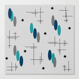 Ovals and Starbursts Teal Canvas Print