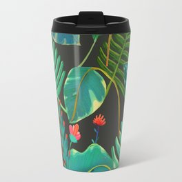 dark tropical red flowers Travel Mug
