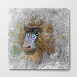 Artistic Animal Mandrill Metal Print