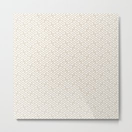 Sayagata - Japanese Traditional Pattern - Ivory & White Metal Print