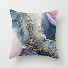 Blush, Payne's Gray and Gold Metallic Abstract Deko-Kissen