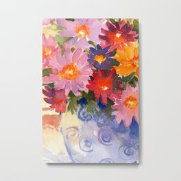 floral in vase watercolor Metal Print