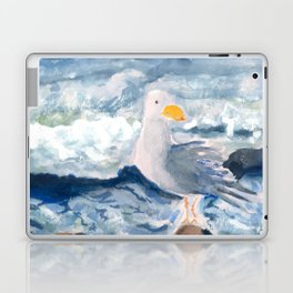 A Watercolor Seagull Named Fred (on Second Cliff in Scituate) Laptop & iPad Skin
