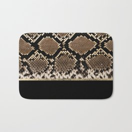 Modern black brown gold snake skin animal print Bath Mat