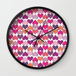 colerfull hearts Wall Clock