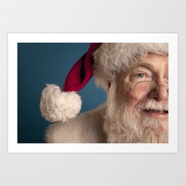 Santa Claus looking away isolated on blue Art Print