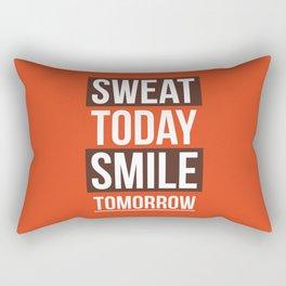 Lab No. 4 - Sweat Today Smile Tomorrow Gym Inspirational Quotes Poster Rectangular Pillow