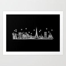 Paris, France City Skyline Art Print