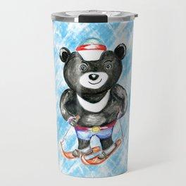 Bear on ski Travel Mug