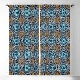 Calligraphic Boho (Blue) Blackout Curtain