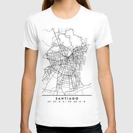 SANTIAGO DE CHILE BLACK CITY STREET MAP ART T-shirt