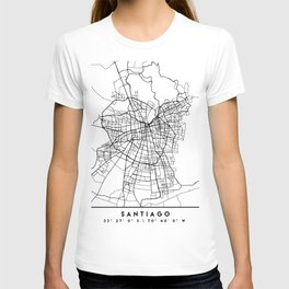 SANTIAGO DE CHILE BLACK CITY STREET MAP ART T-shirt