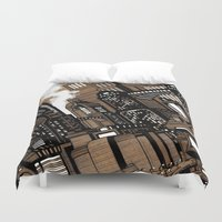 cityscape Duvet Covers featuring Cityscape by David Miley
