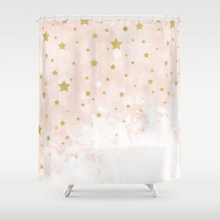 Gold Stars On Blush Pink Shower Curtain