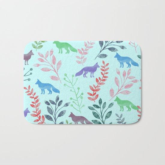 Watercolor Floral & Fox Bath Mat