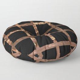 Copper Black Squares Floor Pillow