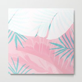 Elegant Palm Trees Pink Foliage Design Metal Print