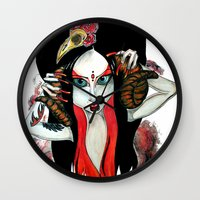 devil Wall Clocks featuring Devil by Miss Midnight