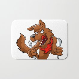 Big bad cartoon wolf. Bath Mat