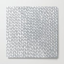 Hand Knit Zoom Grey Metal Print