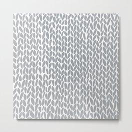 Hand Knit Zoom Grey Metal Print
