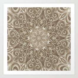 Beige swirl mandala Art Print