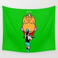 hippo Wall Tapestries featuring Punch Out King Hippo by dutyfreak